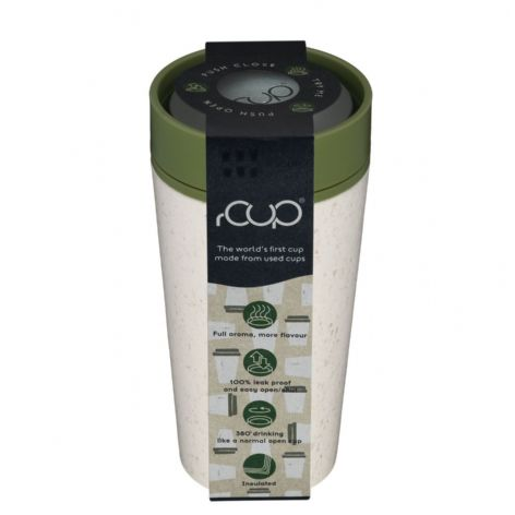 rCup Cream Green - recycled reusable 12 oz cup